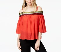 Bcx Juniors' Embroidered Off-the-Shoulder Blouse, Red