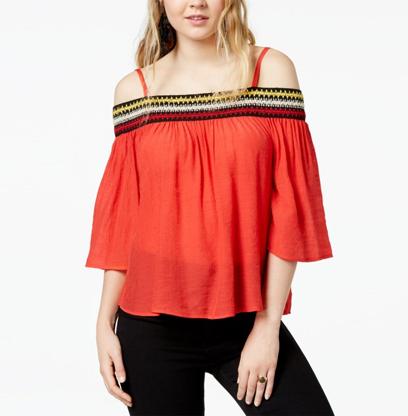 Juniors' Embroidered Off-the-Shoulder Blouse, Red