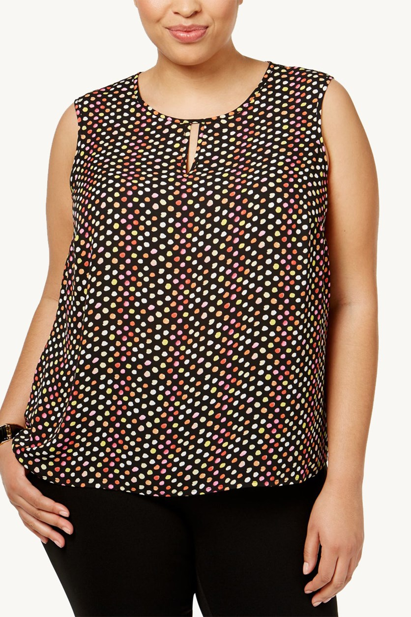 Plus Size Keyhole Shell Tops, Black Combo