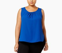 Anne Klein Plus Size Pleated Shell Top, Blue