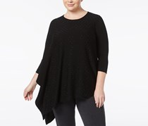 Women Plus Size Rhinestone Asymmetric Top, Black