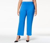 Kasper Plus Size Straight-Leg Pants, Cabana Blue