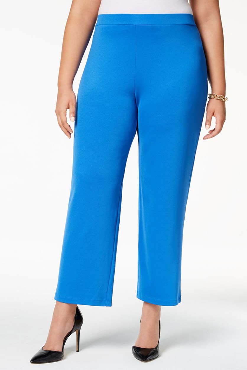 Plus Size Straight-Leg Pants, Cabana Blue