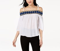 BCX Juniors Embroidered Off-The-Shoulder Tops, Off White