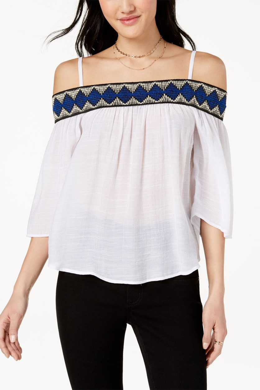 Juniors Embroidered Off-The-Shoulder Tops, Off White