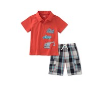 Kids Headquarters 2-Pc. Cotton Polo Shirt, Orange/Blue
