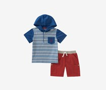 Toddlers 2-Pc. Striped Hoodie Cargo Set, Blue/Red