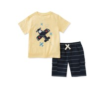 Kids Headquarters 2-Pc. Graphic-Print T-Shirt & Striped Shorts Set, Yellow/Navy