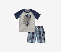 Toddlers 2-Pc. Graphic-Print T-Shirt Short Set, Grey