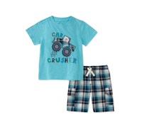 Kids Headquarters Baby Boys 2-Pc.Graphic-Print T-Shirt & Shorts Set, Turquoise