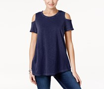 Style & Co Cotton Cold-Shoulder Top, Navy