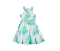 Bloome de jeune fille Big Girls Floral-Print Dress, Green/White