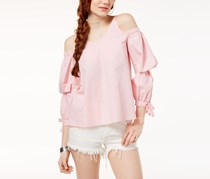 The Edit By Seventeen Juniors Cold-Shoulder Gingham Top, Pink/White