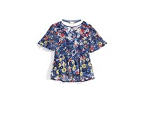 Nowadays Bailee Madison Flower-Print Mesh Knit Top, Navy Combo