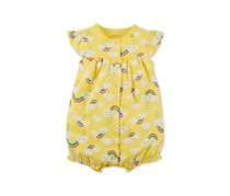 Carters Rainbow-Print Cotton Romper, Yellow