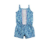 Carters Baby Girl Floral-Print Cotton Romper, Blue