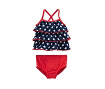 Carter's Baby 4th Of July Girls Star Tankini Set, Navy/Red