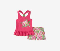 Kids Headquarters Baby Girls 2-Pc. Graphic-Print Tank Top & Shorts Set, Fushia