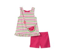 Kids Headquarters 2-Pc. Striped Top Shorts Set, Pink