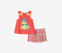 Toddlers 2-Pc. Graphic-Print Top and Short Set, Coral