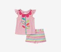 Kids Headquarters 2-Pc. Flower Top Shorts Set, Pink