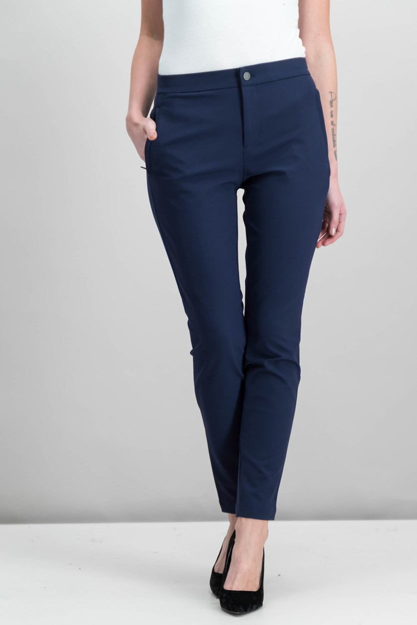 Women's High Rise Twill Pants, Navy