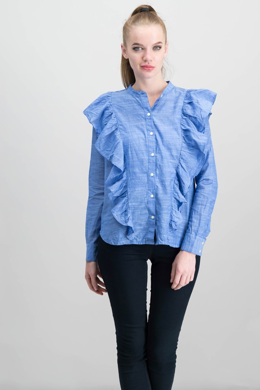 Women's Ruffle Button Down Shirt, Blue