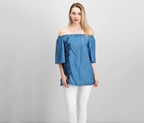 Gap Embroidered Chambray Off-The-Shoulder Top, Blue