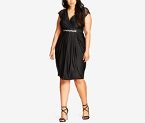 City Chic Trendy Plus Size Embellished Draped Dress, Black