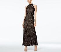 Nightway Sequined Lace Gown, Black Nude