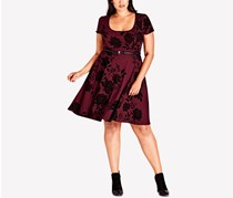 City Chic Women's Plus Size Belted Flock Floral Dress, Ruby
