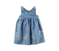 Carter's Baby Girls Embroidered Cotton Chambray Dress, Navy