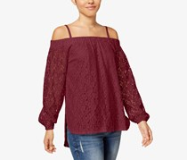 Seven Sisters Juniors Off-The-Shoulder Lace Top, Burgundy