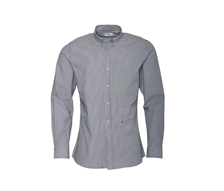 Men's Long-sleeve Striped Shirt, Grey/White