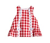 Marmellata Gingham Cotton Dress, Red/White