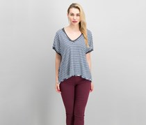Free People Women's Striped Contrast T-Shirt, Navy