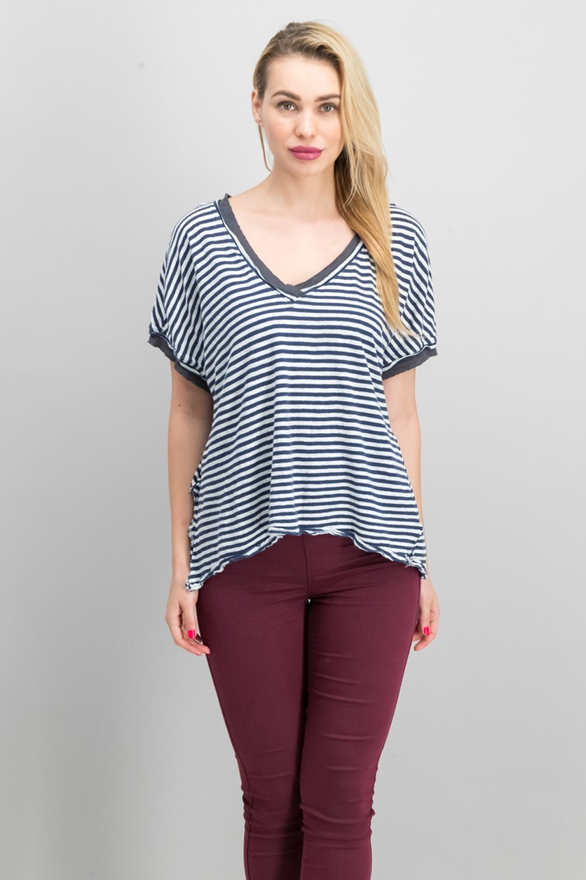 Women's Striped Contrast T-Shirt, Navy