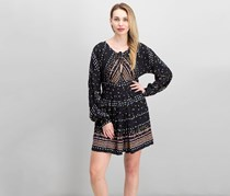 Free People Patterned Peasant Dress, Black Combo