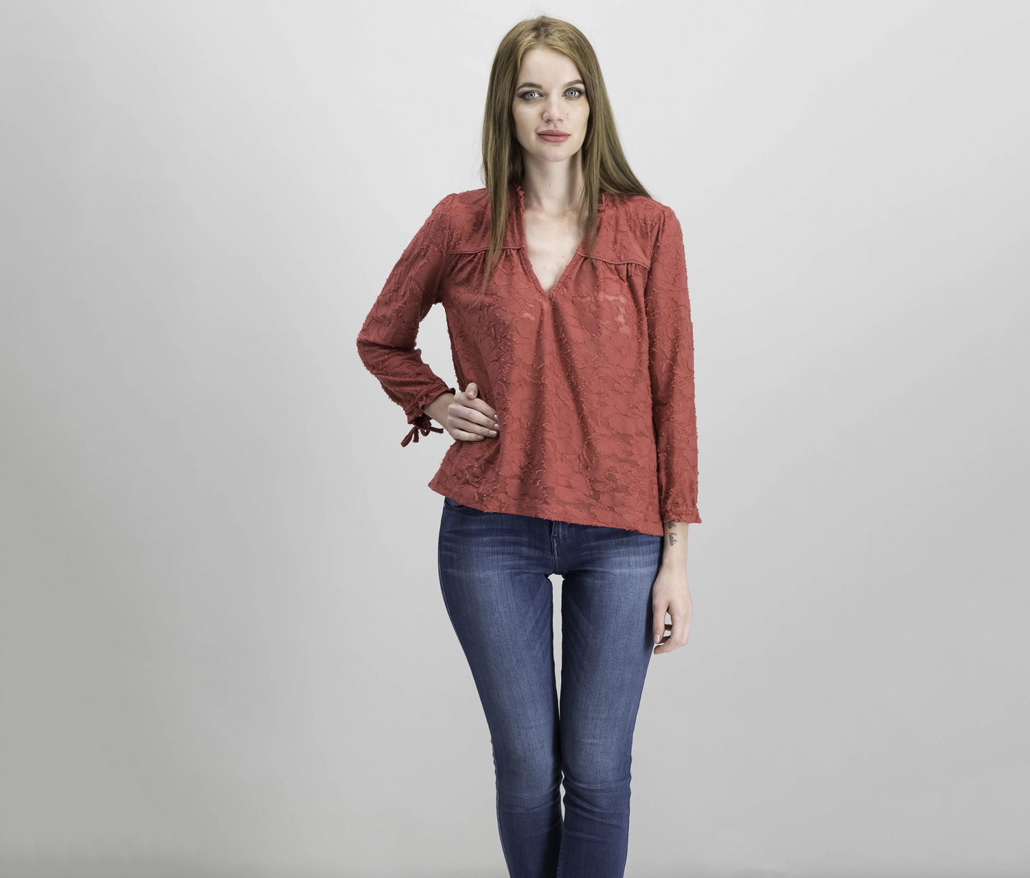 Jacquard Tie-Sleeve Top, Red