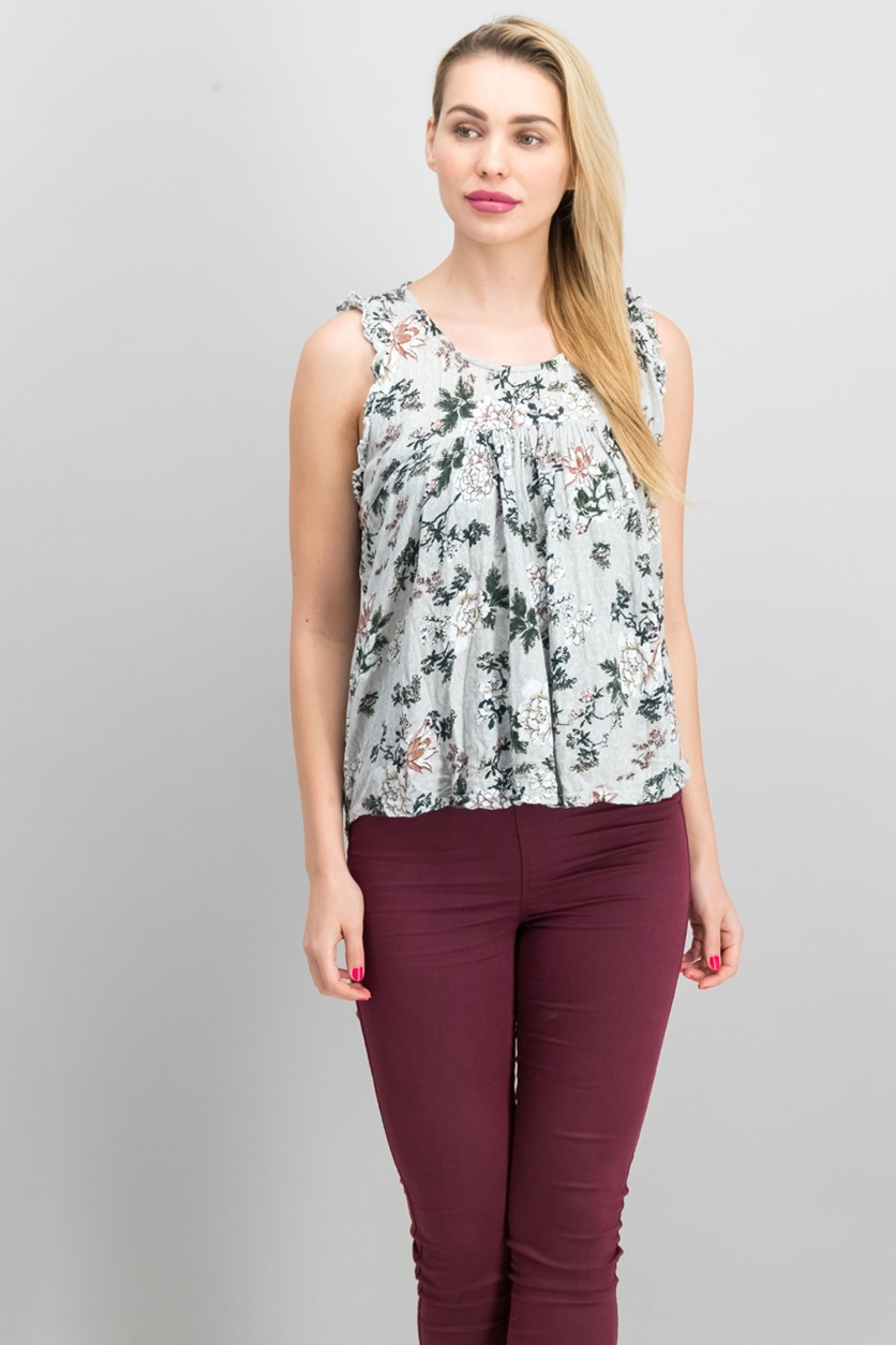 Women's Floral Top, Light Grey