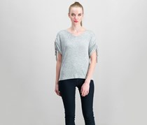 Lucky Brand Women's Cold-Shoulder Top, Heather Grey