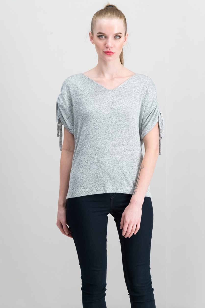 Women's Cold-Shoulder Top, Heather Grey