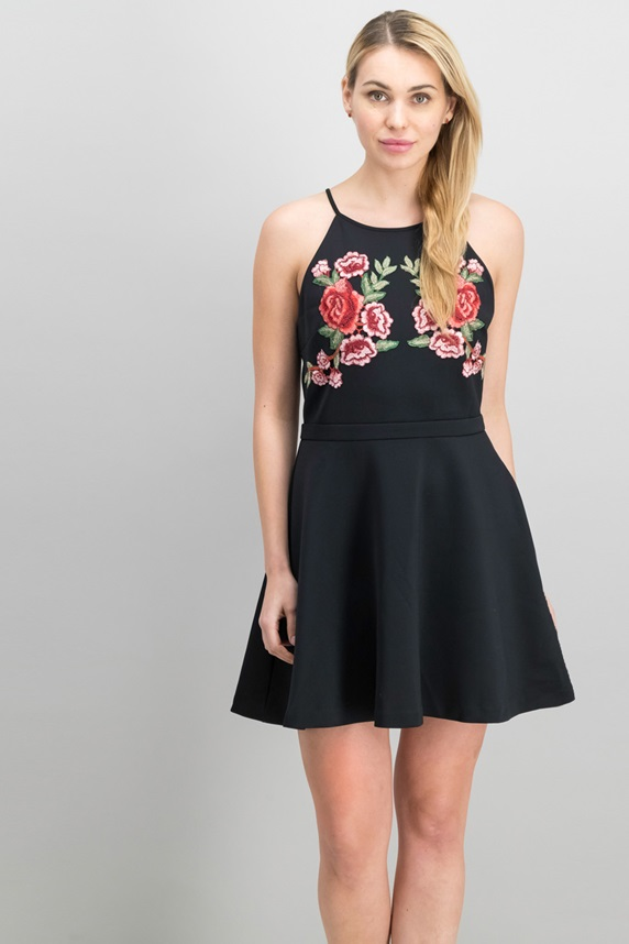 4a01f77a232e Guess Christine Embroidered Fit   Flare Dress