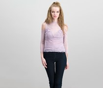 Guess Women's Mona Mixed Lace Top, Lavender