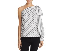 Milly Stripe One-Shoulder Bow Top, White/Grey