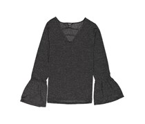 Freshman Junior Cutout Neck Metallic Knit Top, Black
