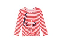 Belle Du Jour Striped Knot-Front Crop Top, Paradise Pink