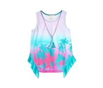 Self Esteem 2-Pc. Printed Tank Top with Necklace, Blue/Turquoise