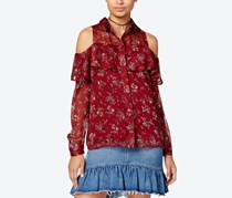 One Hart Juniors Printed Cold-Shoulder Top, Port