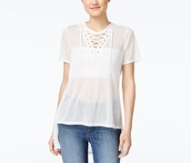Material Girl Juniors' Lace-Up Tunic, White